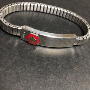 Silver medical alert bracelet adjustable stretchy